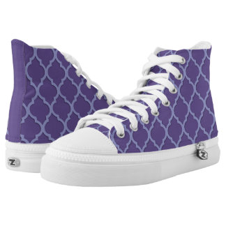 Ultra Violet and 3D Lavender Moroccan Tile Pattern High Tops