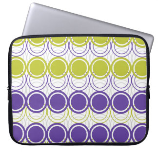 Ultra violet and green circles laptop sleeve