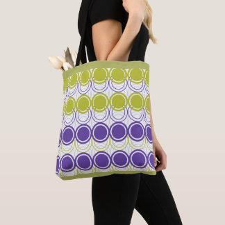 Ultra violet and green circles tote bag