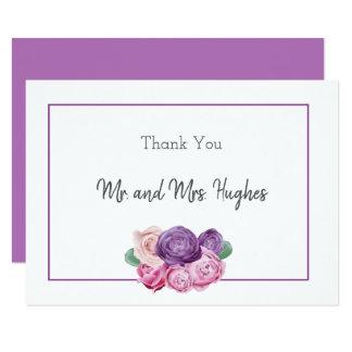 Ultra violet and pink Roses floral Wedding Card