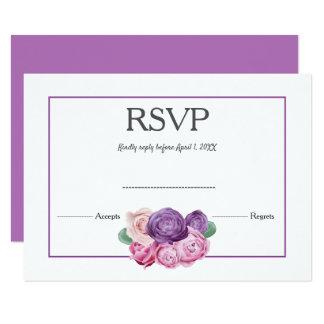 Ultra violet and pink Roses floral Wedding RSVP Card