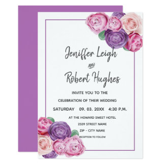 Ultra violet and pink Roses wedding Card