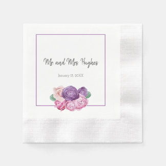 Ultra violet and pink Roses wedding Disposable Napkins