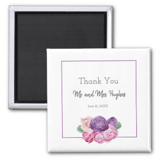 Ultra violet and pink Roses wedding thank you Magnet