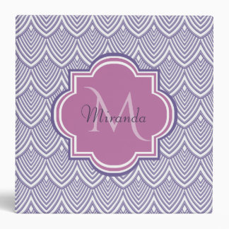 Ultra Violet Arched Scallops Orchid Monogram Name 3 Ring Binders