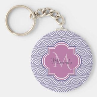 Ultra Violet Arched Scallops Orchid Monogram Name Keychain