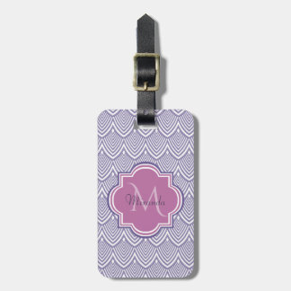 Ultra Violet Arched Scallops Orchid Monogram Name Luggage Tag