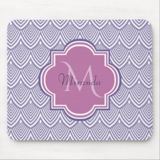 Ultra Violet Arched Scallops Orchid Monogram Name Mouse Pad