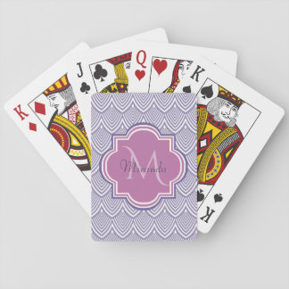 Ultra Violet Arched Scallops Orchid Monogram Name Playing Cards