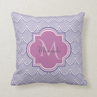 Ultra Violet Arched Scallops Orchid Monogram Name Throw Pillow