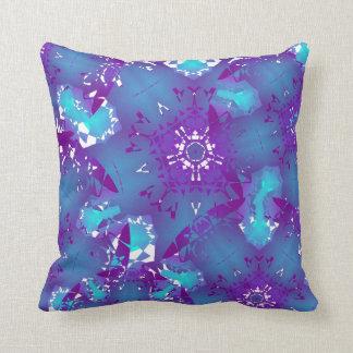 Ultra Violet Blue Mix Modern Abstract Floral Throw Pillow