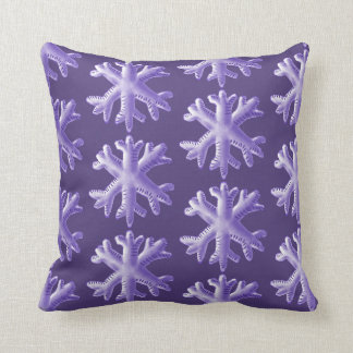 Ultra Violet Fluffy Snowflake Pattern Throw Pillow
