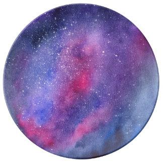 Ultra violet galaxy decorative porcelain plate