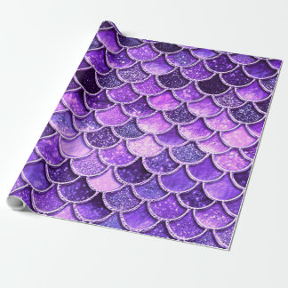 Ultra Violet Glitter Mermaid Scales Wrapping Paper