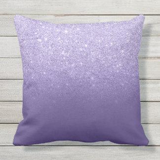 Ultra violet glitter ombre purple color block throw pillow