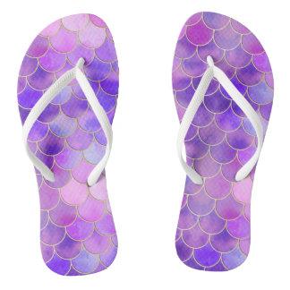 Ultra Violet & Gold Mermaid Scale Pattern Flip Flops