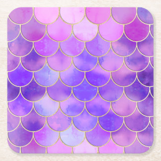 Ultra Violet & Gold Mermaid Scale Pattern Square Paper Coaster