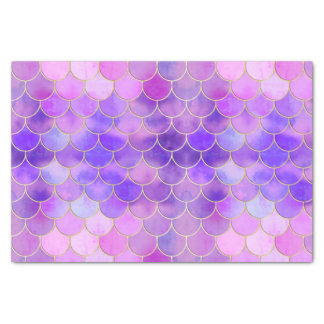 Ultra Violet & Gold Mermaid Scale Pattern Tissue Paper