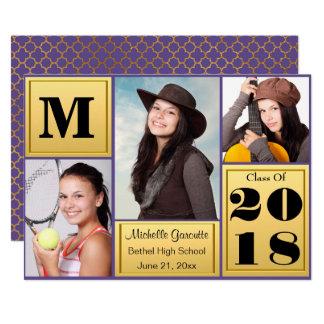 Ultra Violet Gold Photo Graduation Card