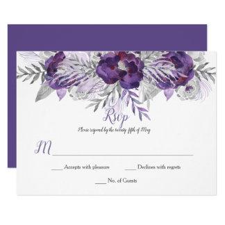 Ultra Violet Lavender Gray Watercolor Roses RSVP Card