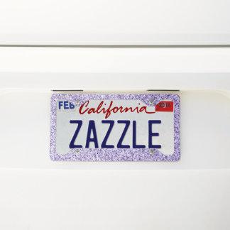 Ultra violet light purple glitter sparkles license plate frame