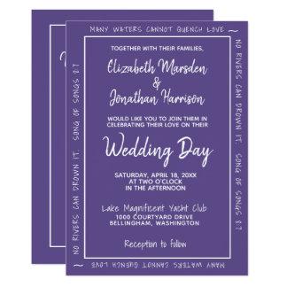 Ultra Violet Modern Hand Lettered Simple Wedding Card