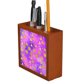 ultra violet, modern,purple,pink,gold,round,triang desk organizer