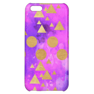 ultra violet, modern,purple,pink,gold,round,triang iPhone 5C case