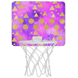 ultra violet, modern,purple,pink,gold,round,triang mini basketball hoop