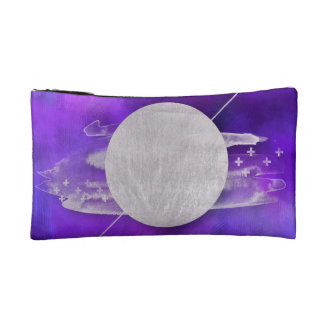 ultra violet, modern,purple,triangle,silver,trendy cosmetic bag