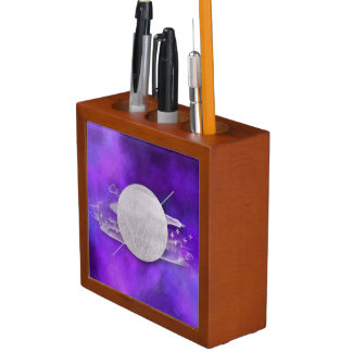 ultra violet, modern,purple,triangle,silver,trendy desk organizer