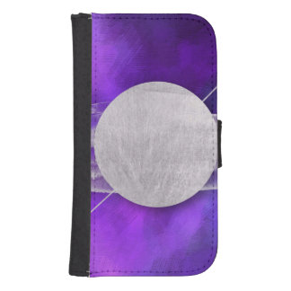ultra violet, modern,purple,triangle,silver,trendy samsung s4 wallet case