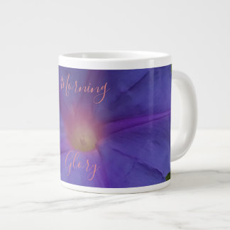 Ultra Violet Morning Glory Flower and Text Large Coffee Mug