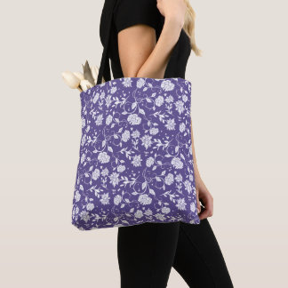 Ultra Violet Poetry Garden Flower Tote Bag