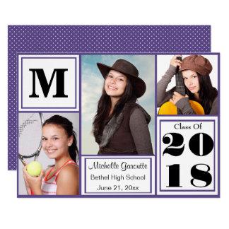 Ultra Violet Polka Dot Photo Graduation Card