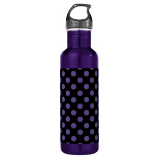 Ultra violet polka dots on black 710 ml water bottle