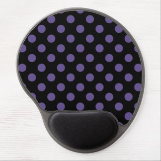 Ultra violet polka dots on black gel mouse pad
