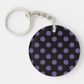 Ultra violet polka dots on black keychain