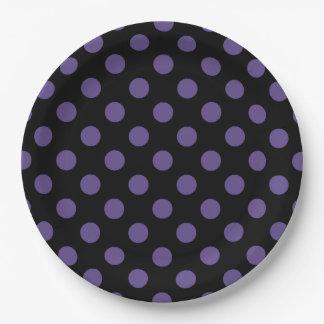 Ultra violet polka dots on black paper plate