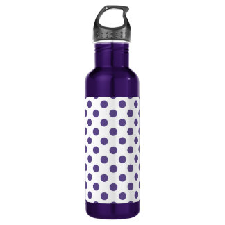 Ultra violet polka dots on white 710 ml water bottle