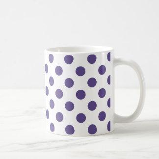 Ultra violet polka dots on white coffee mug