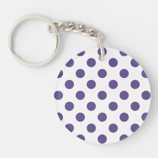 Ultra violet polka dots on white keychain