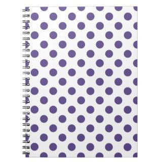 Ultra violet polka dots on white notebooks