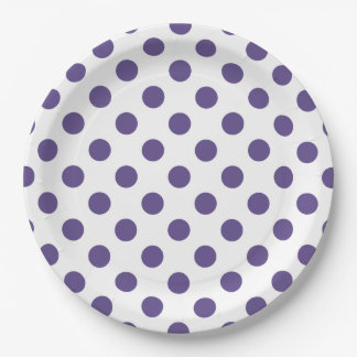 Ultra violet polka dots on white paper plate