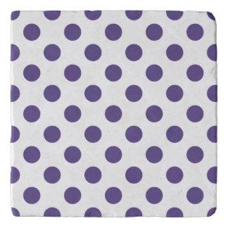 Ultra violet polka dots on white trivet