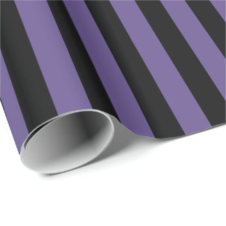 Ultra Violet Purple and Black Stripe Wrapping Paper
