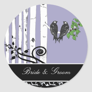 Ultra Violet Purple Birch Tree Vintage Bird Seal