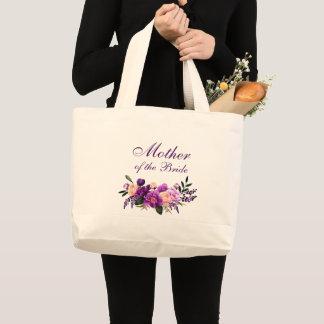 Ultra Violet Purple Floral Mother of the Bride Large Tote Bag