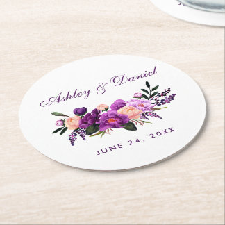 Ultra Violet Purple Floral Watercolor Wedding PS Round Paper Coaster