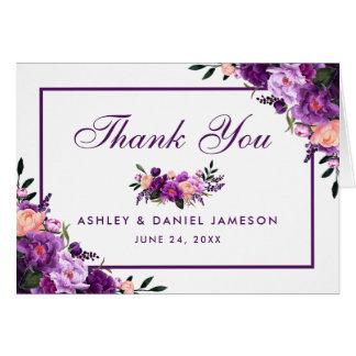 Ultra Violet Purple Floral Wedding Thanks Note PFP Card